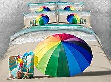 JF-121 Urlaub Sommer am Strand Regenbogen Regenschirm Handtasche ocean drucken Bettwäsche King size Tencel Bettdecke zudecken Königin