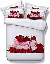 JF-130 romantische Hochzeit kit rosa und rote Rosen Bettbezug Flachfolien Kissenbezüge 4 Stk king size Betten setz