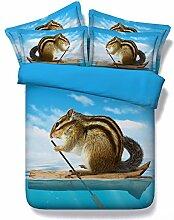 JF-138 Eichhörnchen Bootfahren auf Meer Kinder Bettwäsche Einzelbett eingerichtet nach King size Bettdecke Bettbezug Bettwäsche