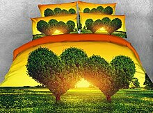 JF-152 schöne Natur Landschaft Herz geformte Bäume drucken Steppdecke Set 4-tlg Bettwäsche queen king size