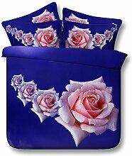 JF-166 HD Digital Print Sky Blue Stoff mit rosa Rosen drucken Sie 3D-Bettdecke Queen size Bettzeug king Betten Se