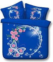 JF-191 Pink Rose, Bubble 4 Stk Double Queen Super King size blauer Schmetterling Betten