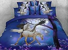 JF-236 Fancy Blau Blätter mit weißen Pegasus drucken 4 Stück 3D-Bettdecke für Kinder Mädchen eingestell