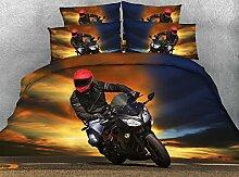 JF-256 schöne Motorrad Fahrer drucken Sie 3d-Bett-Set 4-tlg Doppelbett Bettwäsche
