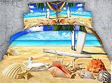 JF-270 HD Digital Print schönen Meer Strand und Shell drucken Bettbezug Bettwäsche Bettwäsche Set 4 Stk.