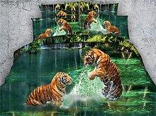 JF 274 Zwei Tigern spielen Wasser Bett in einem Beutel 5 Stück Tier Tiger drucken Tröster eingestell