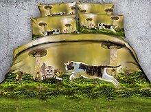 JF-307 Schöne naturgetreue Kätzchen und Pilz drucken Steppdecke Set 4 Stk kids Cat drucken Bettwäsche voll Queen Size