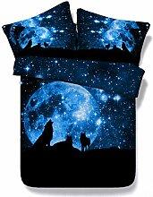 JF066 Luxus blaue Farbe Wolf Mond und Galaxis Drucken 5 Stk Bettdecke Bettwäsche