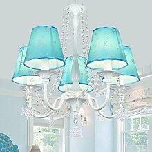 JFFFFWI Kronleuchter Blue Princess Zimmer Kristall
