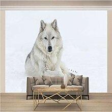 JFSZSD Fototapete Schnee & Weißer Wolf