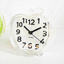 JGBFT Uhr Obst Apfel Form Persönlichkeit Kreativ Kinder Schlafzimmer Dekoration Mit Nachtlicht,White