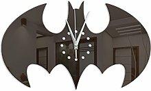 JGBFT Wanduhr Halloween Wohnzimmer Kreativ Bat Zuhause Dekoration Basteln DIY Wandsticker Uhr,Black