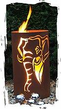JH-Metalldesign Feuertonne Elefant Edelrost Säule