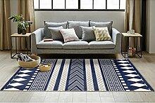 JH Teppich Klassisch Rechteckig Cozy Shag Collection Massiv Teppich Contemporary Living & Schlafzimmer Weiche Shaggy Teppich Teppich Schwarz-Weiß-Blau und Weiß (Color : D, Size : 60*90cm)