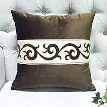 JHBJ Flanell Solid Color Einfache Kissen Jacquard Spitze Europäische Kissen Sofa Kissen Büro Stuhl Kissen Bedside Kissen Taillenkissen ( Farbe : E , größe : 55*55cm )