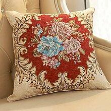 JHBJ Jacquard-Sofa-Kissen Chinesisches Bett-Rückseiten-Taillen-Kissen / Kern Taillenkissen ( Farbe : B , größe : 45*45cm )