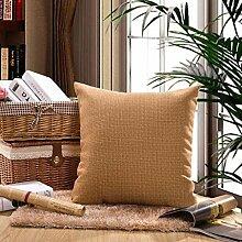JHBJ Leinen Kissen Kissen Büro Sofa Kissen Baumwolle und Leinen Kissen Solid Color Bett Kissen Taillenkissen ( Farbe : A , größe : 45*45cm )