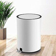 JHBJ Mülleimer Edelstahl Trash Fußpedal Stille Abfallausgangs- Wohnzimmer Küche Toilette Abfalleimer 8L 12L Abfalleimer ( Farbe : Weiß , größe : 12L )