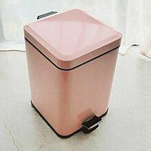 JHBJ Mülleimer Treteimer Edelstahl-Abfall-Can 6L Abfalleimer ( Farbe : Pink )