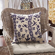 JHBJ Verlassen Sie sich auf die Verpackung Taille Kissen runden Stuhl Taille Kissen Rechteck klassischen Kissen Leinen blau und weiß blau Kissen 35 * 50cm (Jacke + Inner Core) Taillenkissen ( Farbe : B )