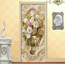 JHLP Marmormuster Blumen Vase 3D Türaufkleber