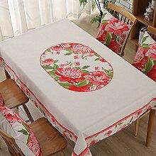 Jhxena American Country Style Tischdecke Aus Baumwolle Und Leinen Verdicken Rechteckige Cafe Table Cover Tuch, Rot Pfingstrose, 140 * 140 Cm