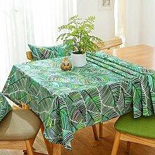 Jhxena American Country Style Tischdecke Grün Bettwäsche Kaffee Table Cover Tuch, Botanischer Garten, 140 * 220 Cm