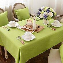 Jhxena American Style Cotton Canvas Tischdecke Hochzeit Cafe Und Tee Table Cover Tuch, Hellgrün 140 Cm * 180 Cm