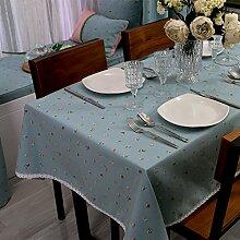 Jhxena American Style Dorf Tischdecke Coffee Shop Und Kaffee Tisch Decken Tuch Kunst, Blau 90 * 90 Cm.