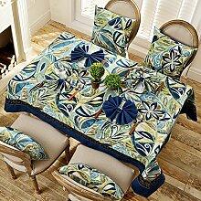Jhxena Amerikanischen Retro-Stil Tischtuch Rechteckig Home Waschbar Blau Tischdecke, 120*120 Cm