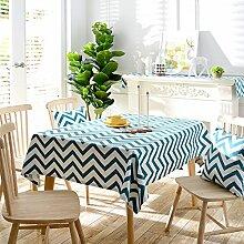 Jhxena Blaue Geometrische Muster Tischdecke Aus Baumwolle Und Leinen Hotel Und Kaffee Tisch Decken Tuch, 140 * 140 Cm