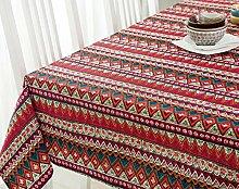 Jhxena Böhmischen Stil Baumwolle Und Leinen Tischdecke Rechteckigen Tisch Decken Tuch, Rot 140*240 Cm