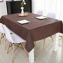 Jhxena Cotton Canvas Farbe Wasserdichte Tischdecke Schreibtisch Wohnzimmer Tisch Decken Tuch, Dunkelbraun 130 * 140 Cm