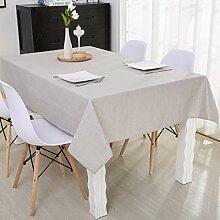Jhxena Cotton Canvas Farbe Wasserdichte Tischdecke Schreibtisch Wohnzimmer Tisch Decken Tuch, Grau 130 * 180 Cm.