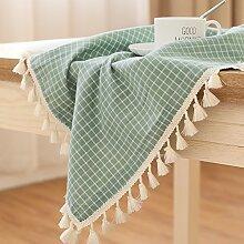 Jhxena Der Modernen Japanischen Stil Tischdecke Aus Baumwolle Und Leinen Rechteckige Quaste Couchtisch Abdeckung Tuch, Grün, 140 * 140 Cm