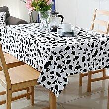 Jhxena Einfache Speisen Rechteckige Tischdecke Cafe Oder Zu Hause Kaffee Table Cover Tuch, White Leopard Muster, 140 * 240 Cm