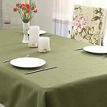 Jhxena Einfachen Stil Farbe Tischdecke Baumwolle Kaffee Table Cover Tuch, Deep Green 140 * 140 Cm