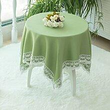 Jhxena Farbe Baumwolle Und Leinen Tischdecke Runde Oder Rechteckige Spitze Rim Tischdecke, Hellgrün Durchmesser 130 Cm