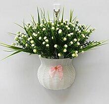 jhxena Garten Stil an der Wand hängenden Blumenkörben gemischte Blumen aus Kunststoff White Orchid Gras
