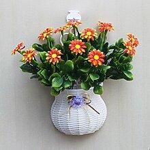 jhxena Garten Stil an der Wand hängenden Blumenkörben gemischte Blumen aus Kunststoff rot Gänseblümchen
