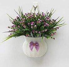 jhxena Garten Stil an der Wand hängenden Blumenkörben gemischte Blumen aus Kunststoff purple orchid Gras