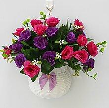 jhxena Garten Stil an der Wand hängenden Blumenkörben gemischte Blumen aus Kunststoff Lila Rose