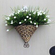 jhxena Garten Stil an der Wand hängenden Blumenkörben kit White Diamond Rose
