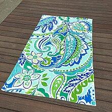 Jhxena Garten Stil Baumwolle Strandtuch Urlaub Am Meer Schal Strand Decke, Grünen Geblümten