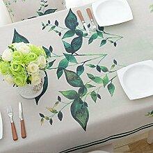 Jhxena Garten Stil Baumwolle Und Leinen Tischdecken Rechteckige Einfache Kaffee Table Cover Tuch, Grünes Gras, 90 * 140 Cm