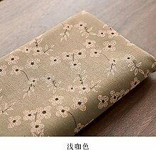 Jhxena Garten Stil Rechteckige Tischdecke Aus Baumwolle Und Leinen Stickerei Kaffee Table Cover Tuch, Hellbraun, 140 * 220 Cm