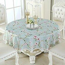 Jhxena Garten Stil Runde Tischdecke Wasserdicht Anti-Öl Tee Table Cover Tuch, Grün, Durchmesser 180 Cm
