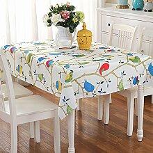 Jhxena Garten Stil Stoff Kunst Tischdecke Wasserdicht Und Öldicht Rechteckige Cafe Table Cover Tuch, Blaue Eule, 90 * 90 Cm.