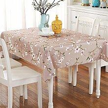 Jhxena Garten Stil Stoff Kunst Tischdecke Wasserdicht Und Öldicht Rechteckige Cafe Table Cover Tuch, Lila Pflaume, 110 * 160 Cm