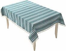 Jhxena Garten Stil Tischdecke Verdicken Quaste Rechteckigen Tisch Decken Tuch, Blau, 140 * 200 Cm.